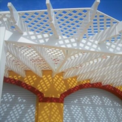 Pergola and trellis made of rigid PVC by Finyl Sales Inc