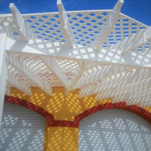 Pergola and trellis made of rigid PVC by Finyl Sales Inc