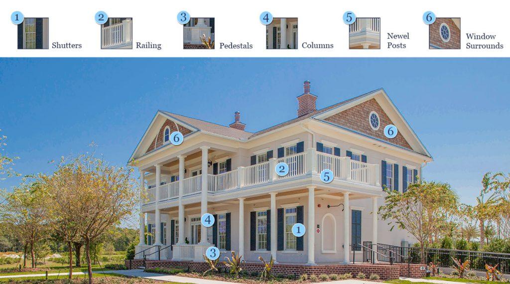 Shutters, Railings, Pedestals, Columns and Window Surrounds