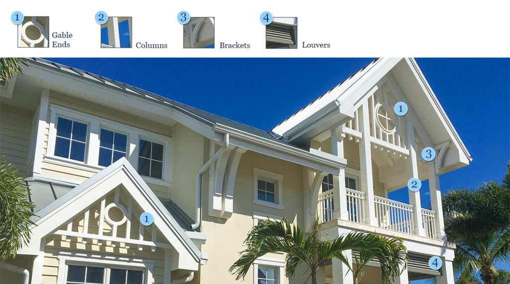 Gable Ends, Columns, Brackets and Louvers
